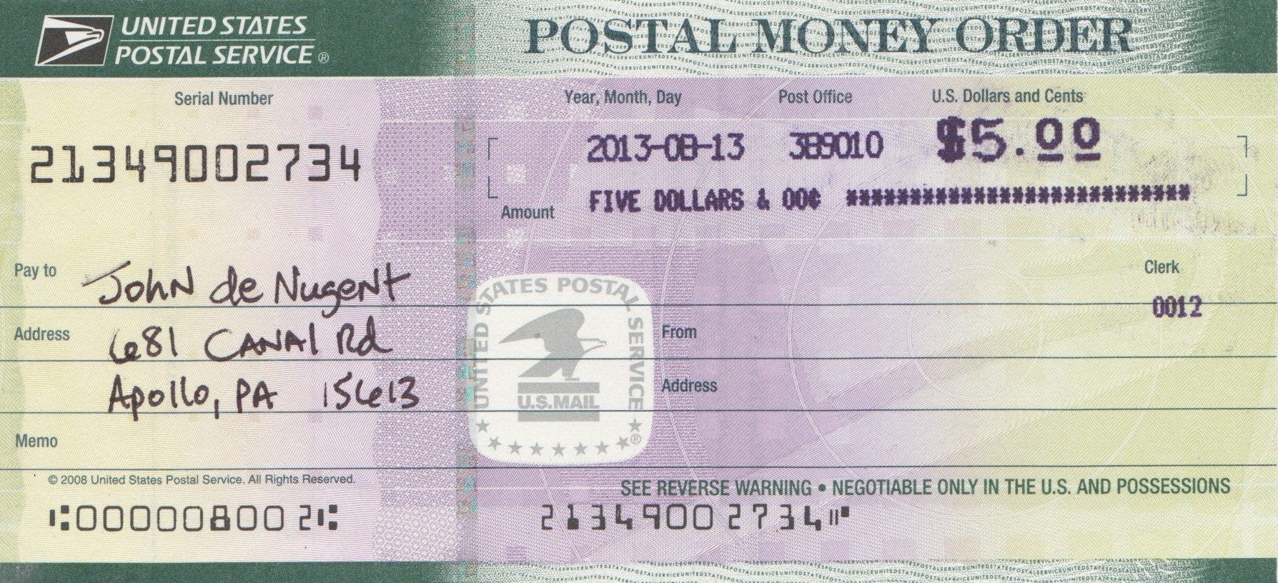 English increasingly rotten service and theft by the usps us 5 dollar usps money order ccuart Gallery