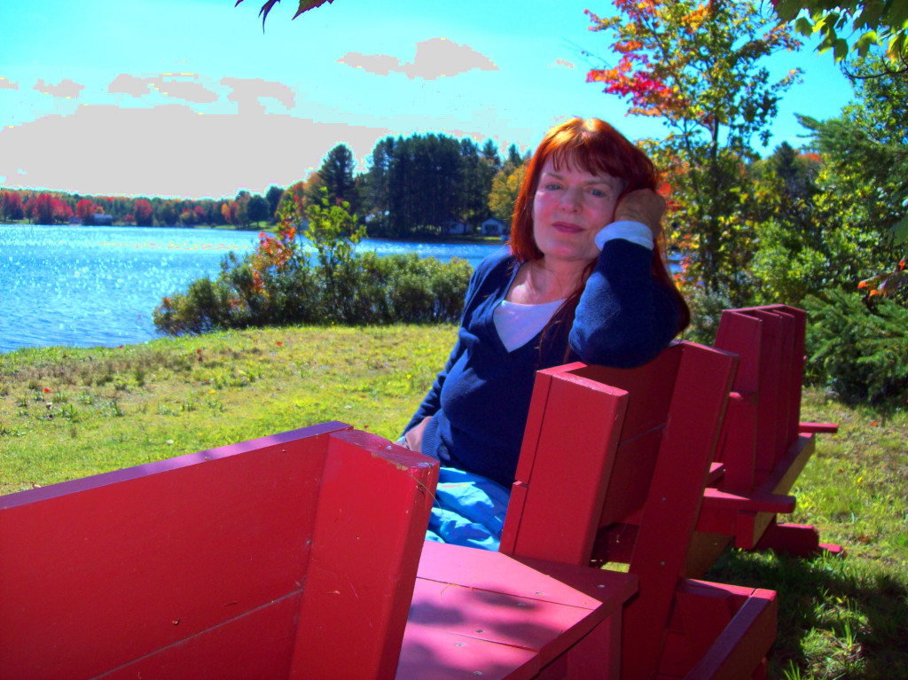 margi-reposing-sun-red-park-bench-twin-lakes-up-michigan-sept-22-2014