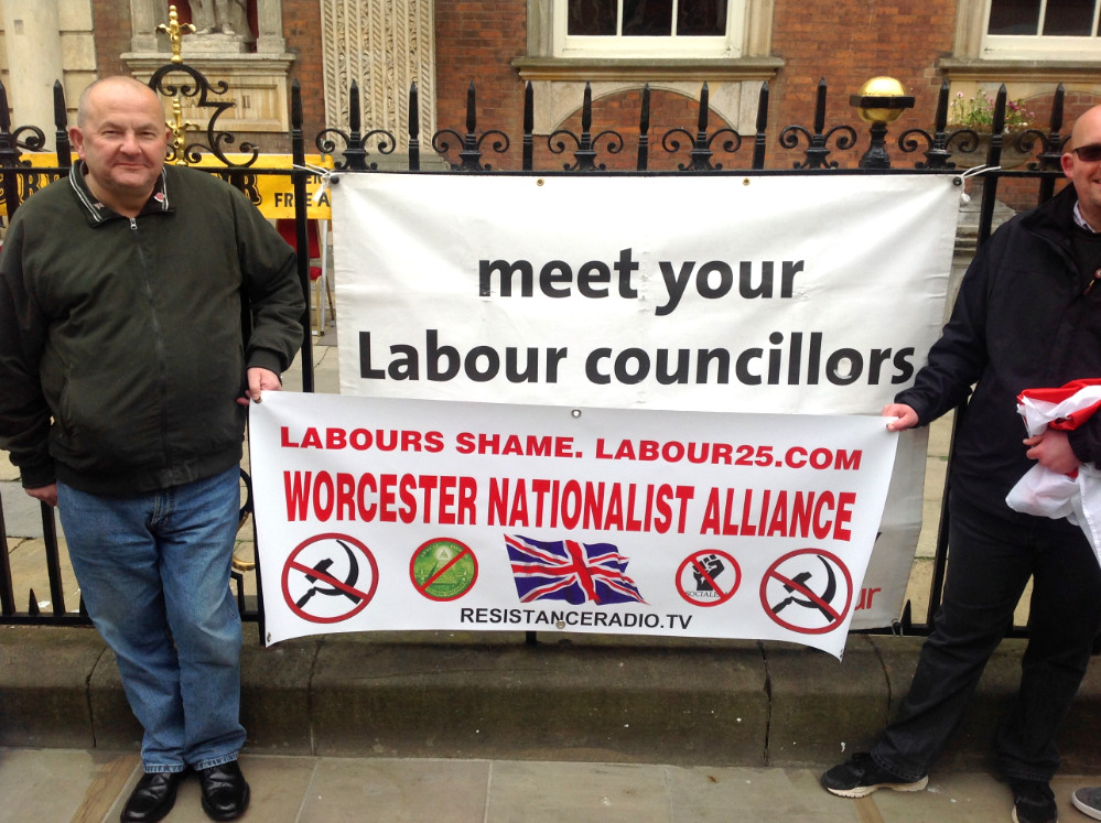 """Worcester (England) Nationalist Alliance does street action blasting Labour VIP paedophiles and tolerators of """"grooming"""""""