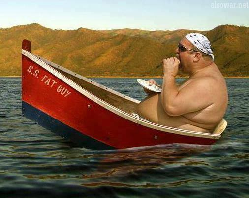 fat-american-eating-tipped-up-dinghy
