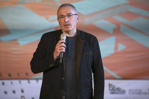 Former Russian oil tycoon Mikhail Khodorkovsky speaks during a news conference in Donetsk