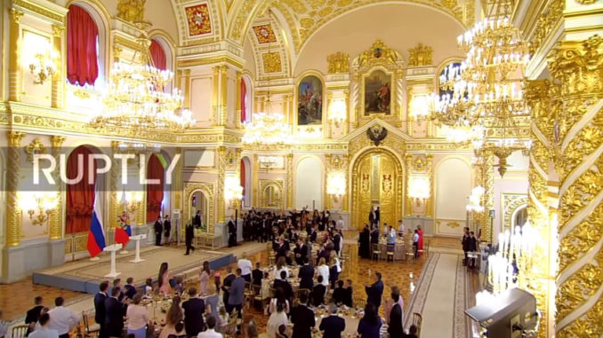 Russian president Putin glorifies big Russian families with medal ceremony in Kremlin