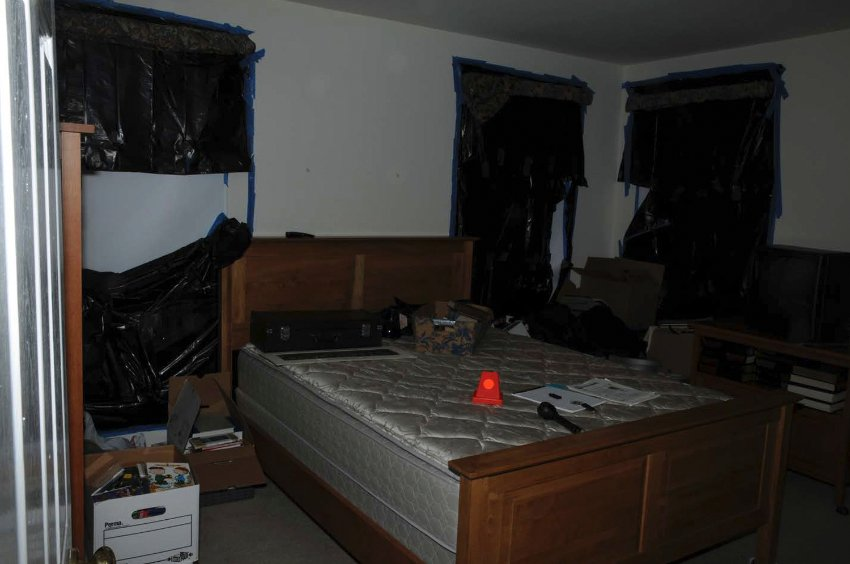 A room in the Adam Lanza's house is pictured in this evidence photo released by the Connecticut State Police