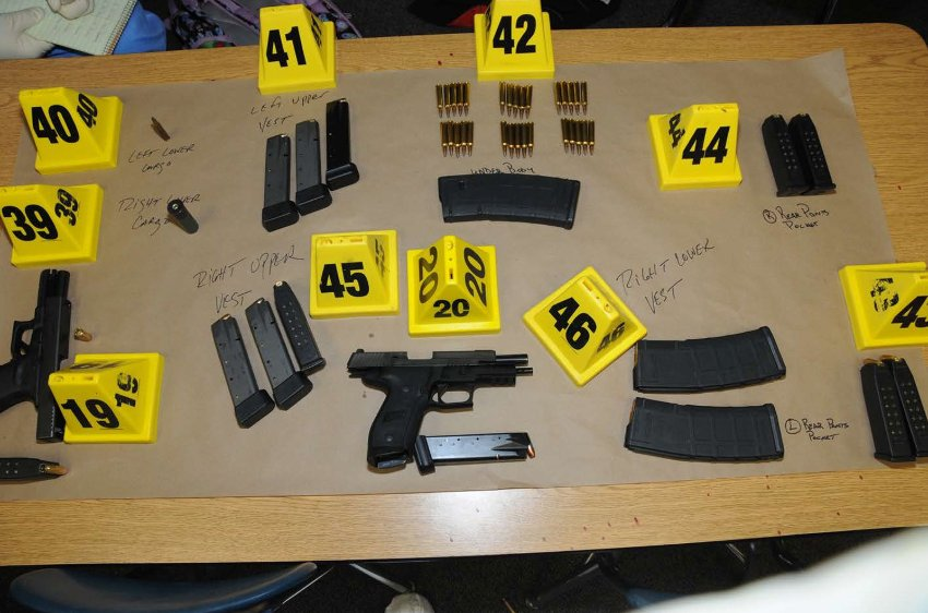 Guns and bullets that were found at Sandy Hook Elementary School in Newtown