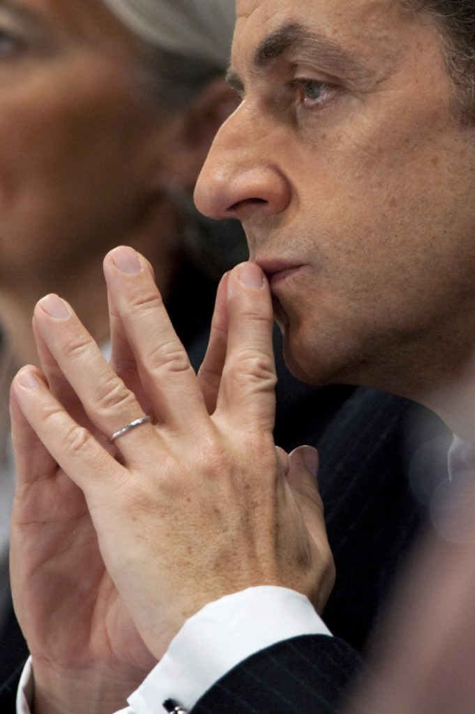 France's President Sarkozy attends a meeting with regional authorities and unemployed people in Chateauroux