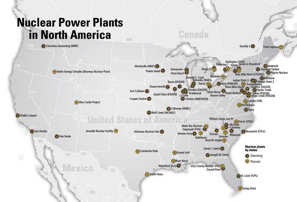 How WWIII Would Affect Us  Nuclear Power Plant Meltdowns - Us nuclear plant meltdown map