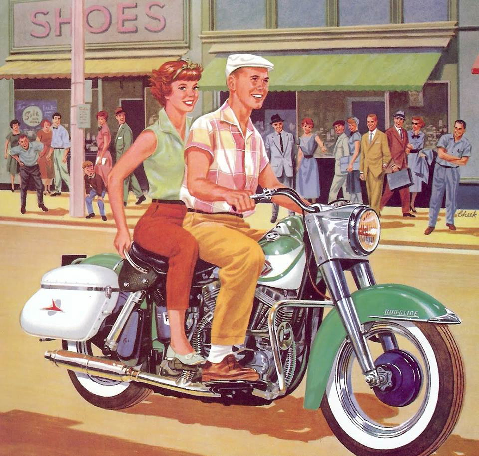 white-american-couple-1950s-ad-harley-davidson-white-onlookers